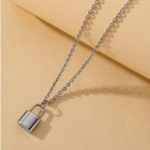 3/$30 Silver Color Chain Lock Charm Necklace